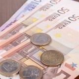 Abschluss oben der Euromünzen Stockfoto