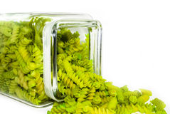 Abschluss oben der grünen Teigwaren Stockbild