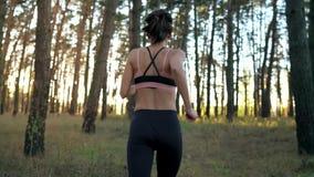 Abschluss oben der lächelnden Frau fügt Kopfhörer in Ohren und Betrieb durch einen Herbstwald bei Sonnenuntergang ein stock video footage