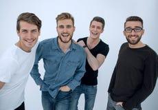 Abschluss oben eine Gruppe glückliche Kerle Lizenzfreies Stockbild