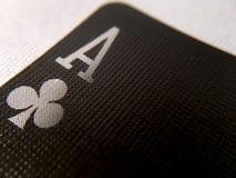 Abschluss-oben/Makro - schwarze Spielkarte - Ace Stockbild