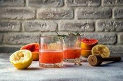 Abschluss oben Selbst gemachtes Cocktail mit Zitrone und Grapefruitsaft Kopieren Sie Platz lizenzfreie stockbilder