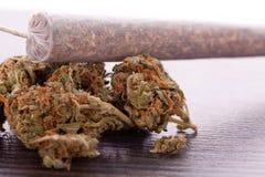 Abschluss oben von getrockneten Marihuanablättern und -gelenk Lizenzfreie Stockbilder