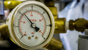 Abschluss Pressue-Messgeräts oben Stockbild