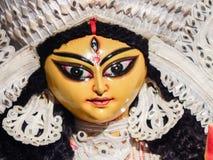 Abschluss schoss oben vom Gesicht eines Idols von Göttin durga Mata mit schönen Augen und schönen Gesichtseigenschaften lizenzfreies stockfoto