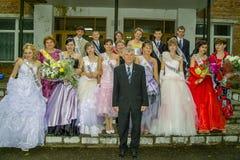 Abschlussfeier in einer ländlichen Schule in Kaluga-Region von Russland Lizenzfreie Stockfotos