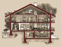 Abschnitt 3d eines Landhauses Stockfoto