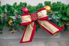 Abschnitt der Weihnachtsgirlande Lizenzfreies Stockfoto