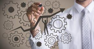 Abschnittschreibenszahn- und -pfeilgraphiken des Geschäftsmannes mittlere gegen braunen Hintergrund Stockfoto