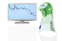 Abschreibung des Euros auf dem Austausch. Stockbilder