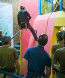 Abseil Training Group. Indoor Abseil group Training Instruction Stock Image