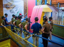 Abseil Training Group. Indoor Abseil group Training Instruction Royalty Free Stock Images