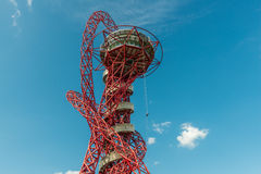 Abseiling in ArcelorMittal Orbit. London, United Kingdom - August 22, 2015:Abseiling experience in ArcelorMittal Orbit, Queen Elizabeth Olympic Park. People Stock Images