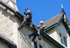Abseiling building maintenance workers at work. Stock Photo