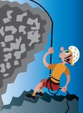 Abseiling on the mountains. A mountaineer descending down a rock face royalty free illustration