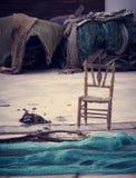 Absence d'un pêcheur, solitude en mer photo libre de droits