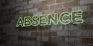 ABSENCE - Glowing Neon Sign on stonework wall - 3D rendered royalty free stock illustration. Can be used for online banner ads and direct mailers Vector Illustration