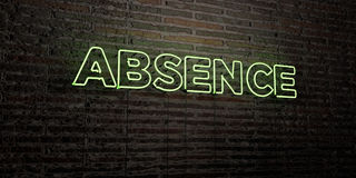ABSENCE -Realistic Neon Sign on Brick Wall background - 3D rendered royalty free stock image. Can be used for online banner ads and direct mailers Stock Illustration
