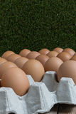 Absent concept : An egg disappears from the group of eggs. Royalty Free Stock Photography