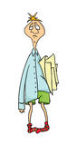 Absent-minded office worker with stack of papers under the armpit. Vector cartoon illustration. Absent-minded office worker with stack of papers under the Stock Images
