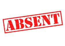 ABSENT. Red Rubber Stamp over a white background Royalty Free Stock Image