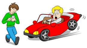 Absentminded smartphone user causes car accident. Vector illustration of a absentminded smartphone user who causes car accident vector illustration