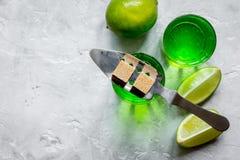 Absint i exponeringsglas med limefruktskivor på modell för bästa sikt för stenbakgrund Arkivbild