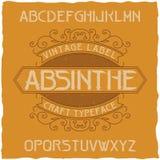 Absintetikettstilsorten och prövkopiaetiketten planlägger med garnering Fotografering för Bildbyråer