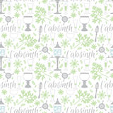 Absinthe accessories seamless pattern Stock Image