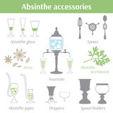 Absinthe accessories vector illustration icons set. Glass, spoon, drippers, fountain, pipes, spoon holders, anise seeds and absinthe wormwood Stock Photography