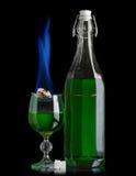 Absinthe avec le burning de sucre Photographie stock libre de droits