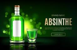 Absinthe bottle and shot glass mock up banner, royalty free illustration
