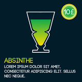 Absinthe cocktail card template with price and flat background. Vector illustration stock illustration
