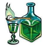 Absinthe. Illustration of the absinthe bottle Stock Photos