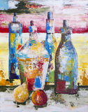 Absinthe liqueur. Ancient bottles with exciting absinthe liqueur. Handmade abstract art acrylic  paintining on canvas Stock Photos