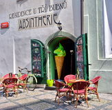 Absinthe Shop in Prague. Absinthe bar shop in Prague royalty free stock photos