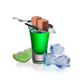 Absinthe shots with lime slices, sugar and ice cubes, isolated Stock Image