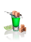 Absinthe shots with lime slices and sugar, isolated Royalty Free Stock Image