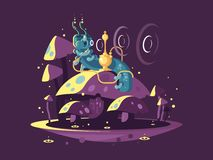Absolem character from Alice in wonderland. Absolem character, fantasy caterpillar, Hookah with Smoke and Mushrooms. Alice In Wonderland vintage concept. vector Royalty Free Stock Photos