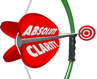 Absolute Clarity Words Bow Arrow Perfect Focus Aim Targeting. Absolute Clarity words on bow and arrow aiming at bulls-eye target to illustrate perfect focus Stock Images