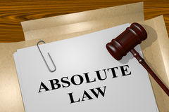 Absolute Law - legal concept. 3D illustration of ABSOLUTE LAW title on legal document Royalty Free Stock Photography