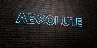ABSOLUTE -Realistic Neon Sign on Brick Wall background - 3D rendered royalty free stock image. Can be used for online banner ads and direct mailers vector illustration