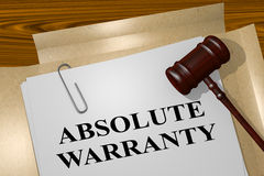 Absolute Warranty - legal concept. 3D illustration of ABSOLUTE WARRANTY title on legal document Royalty Free Stock Photo