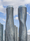 Absolute World  twin tower skyscraper complex. MISSISAUGA, CANADA - NOVEMBER 19, 2015: Absolute World  twin tower skyscraper complex close up -  view.The complex Stock Image