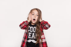 Absolutely amazed little girl Royalty Free Stock Photos