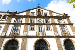 Absolutely beautiful Church of Sao Jose facade in Ponta Delgada, Azores, Portugal. Church Chapel of Our Lady of Sorrows are considered one of the most royalty free stock images
