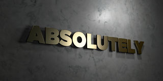 Absolutely - Gold text on black background - 3D rendered royalty free stock picture. This image can be used for an online website banner ad or a print postcard Royalty Free Stock Photography