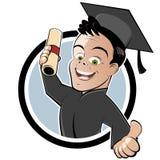 Absolvent mit Kappe und Kleid Stockfotografie