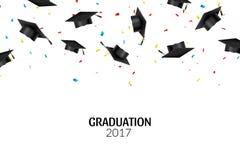 Absolwentów confetti na białym tle i nakrętki Edukaci ceremonii uniwersyteta kapeluszowy osiągnięcie ilustracji