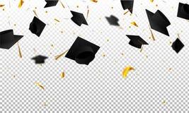 Absolwentów confetti na przejrzystym tle i nakrętki Nakrywa zrzucony up Obrazy Royalty Free